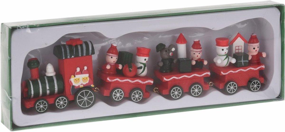 Kersttrein groen/rood van hout 25 cm type I kopen