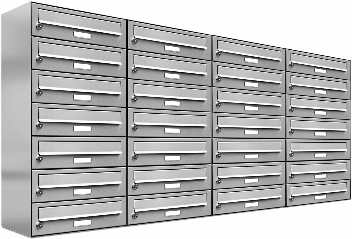 28 personen - adressen - brievenbus - systeem- RVS -