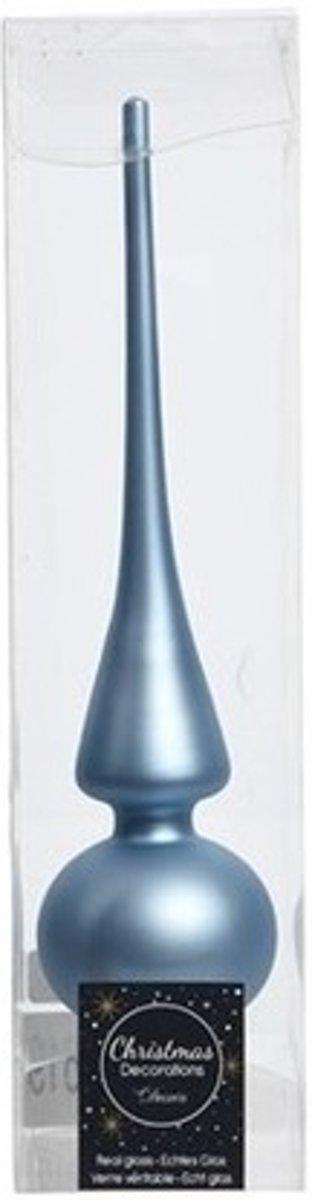 IJsblauwe kerstboom piek mat van glas kopen