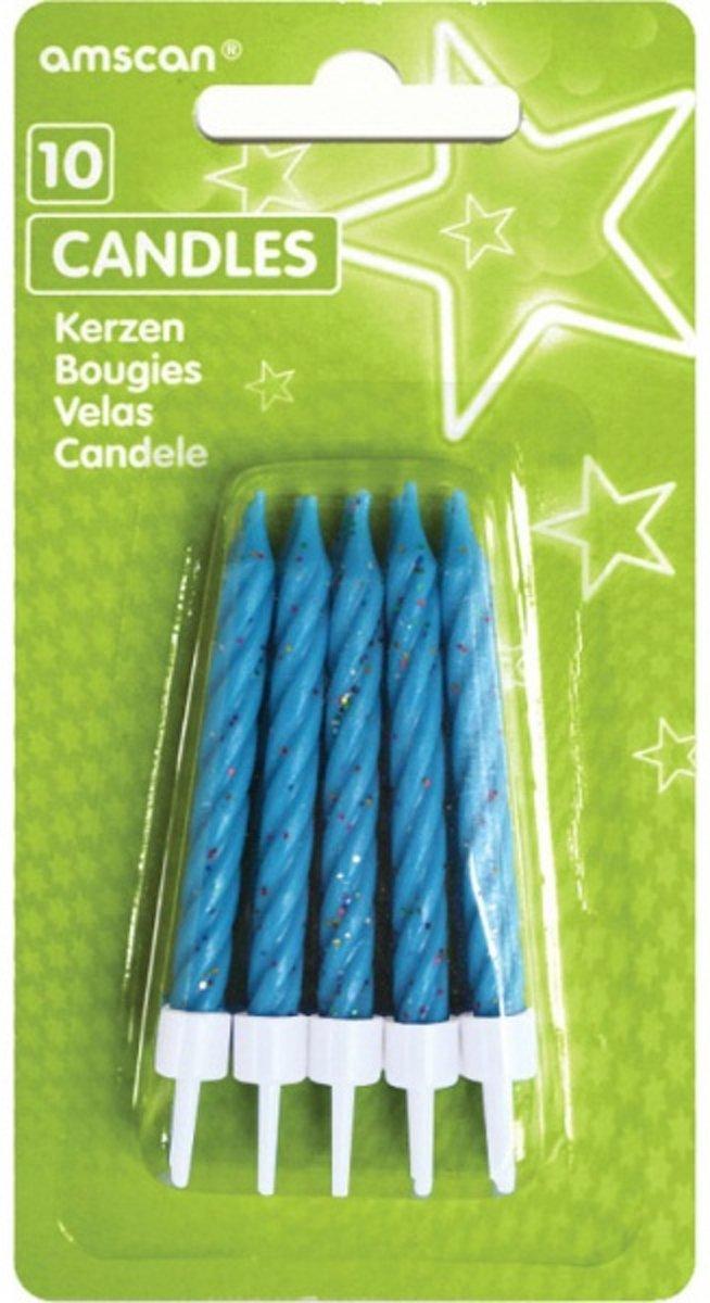 Amscan Verjaardagskaarsjes Spiral Met Ster 6,3 Cm Blauw 8 Stuks