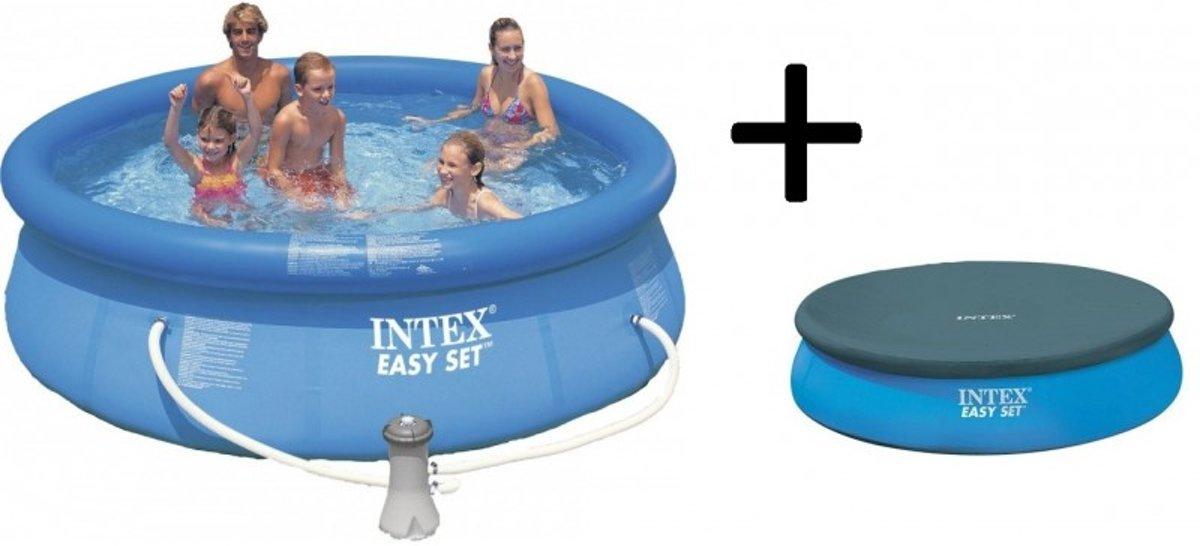 Intex Easy Set Opblaasbaar Zwembad - 305 cm - Inclusief Filterpomp en Afdekhoes