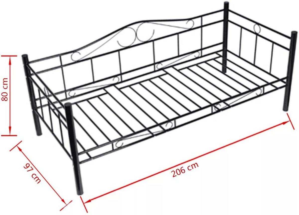 Eenpersoonsbed Wit Ijzer.Bol Com Vidaxl Bed Zwart 90 X 200 Cm
