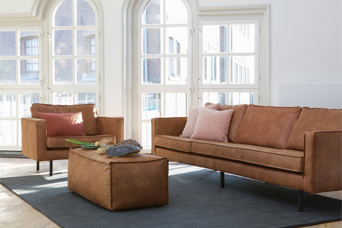 Cognac Bank Met Hocker.Bol Com Bepurehome Rodeo Poef Cognac
