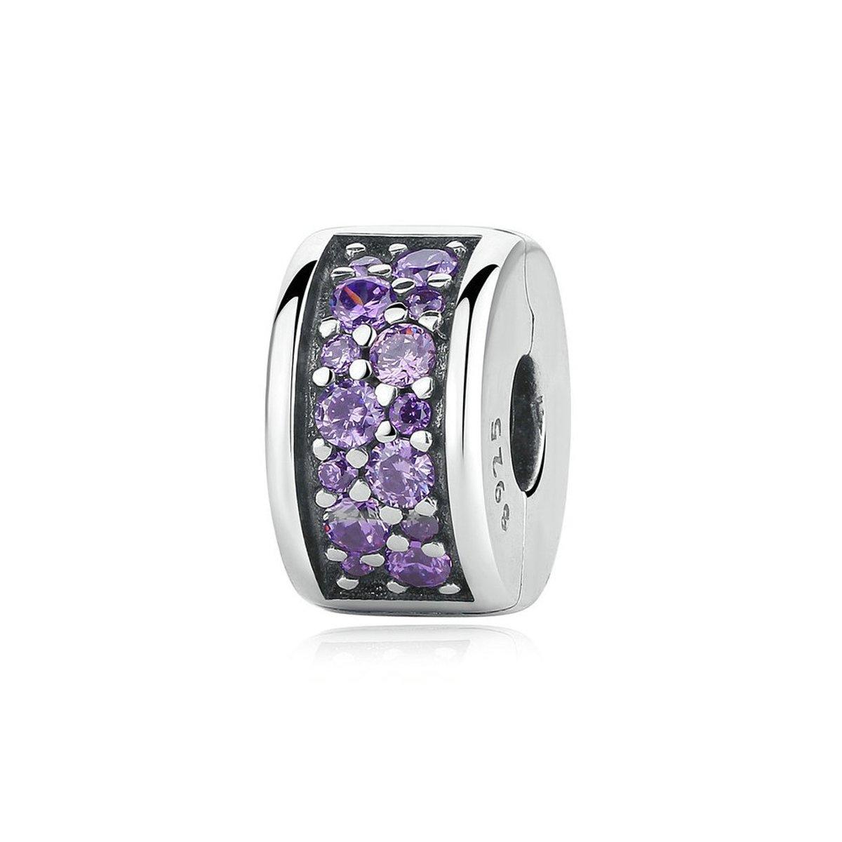 Zilveren clip  met paarse zirkonia Glanzende elegantie kopen