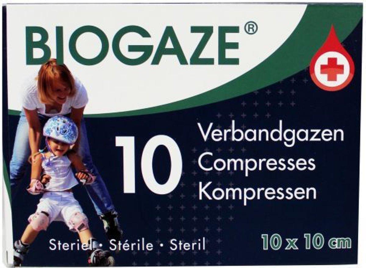 Foto van Biogaze verbandgazen 10x10cm 10 st
