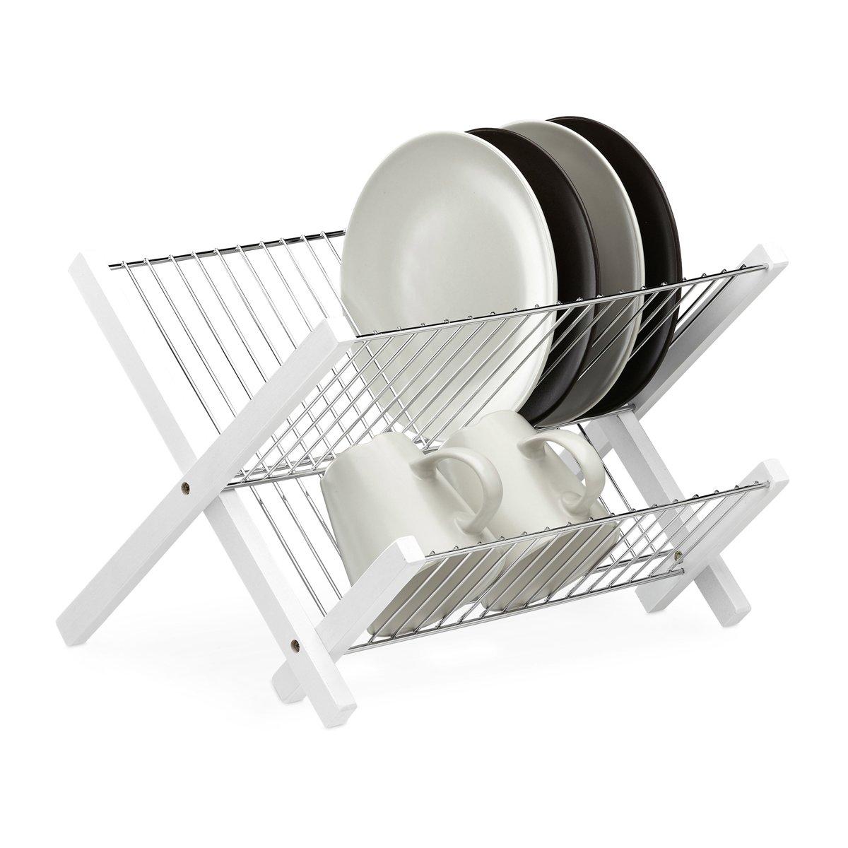 relaxdays afdruiprek edelstaal - 2 etages - droogrek borden - afwasrek - wit - klapbaar kopen