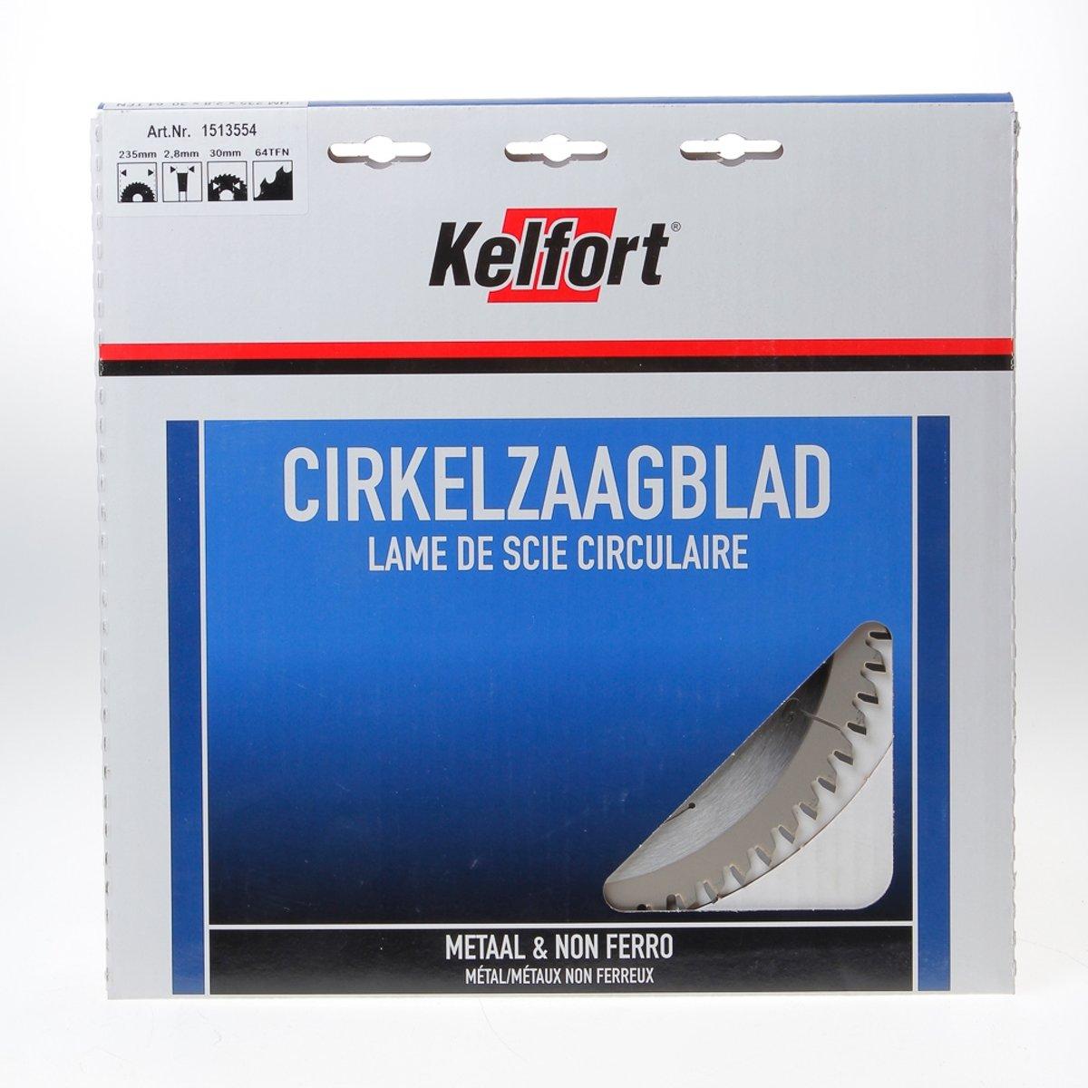 Kelfort Cirkelzaagblad hardmetaal 64 tanden TF(NEG) diameter 235 x 30mm