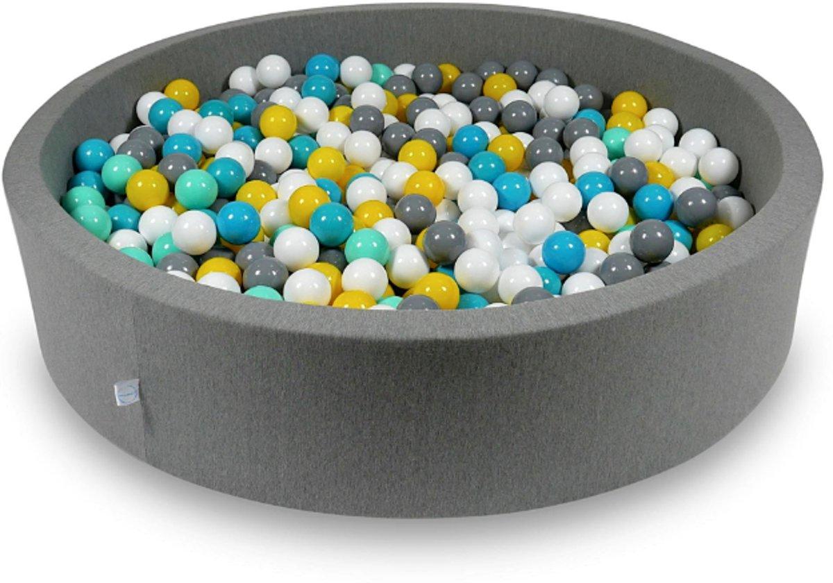 Ballenbak - 600 ballen - 130 x 30 cm - ballenbad - rond donker grijs