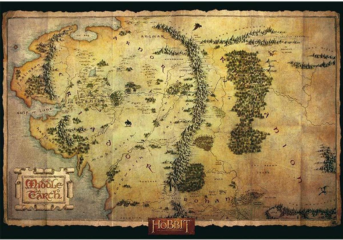 The Hobbit Poster Middle Earth Kaart