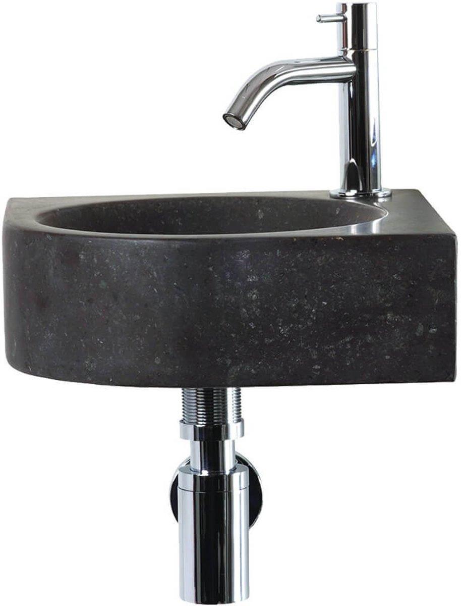 Differnz Cleo Fontein Toilet - Set - Hoekfontein 30 x 30 cm inclusief fonteinkraan en sifon - Natuursteen - Zwart kopen