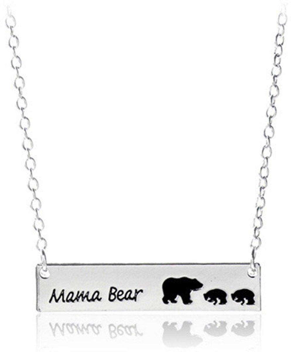 Mama ketting beer met 2 kindjes - sieraad geschenk mama - verjaardagscadeau moeder kopen