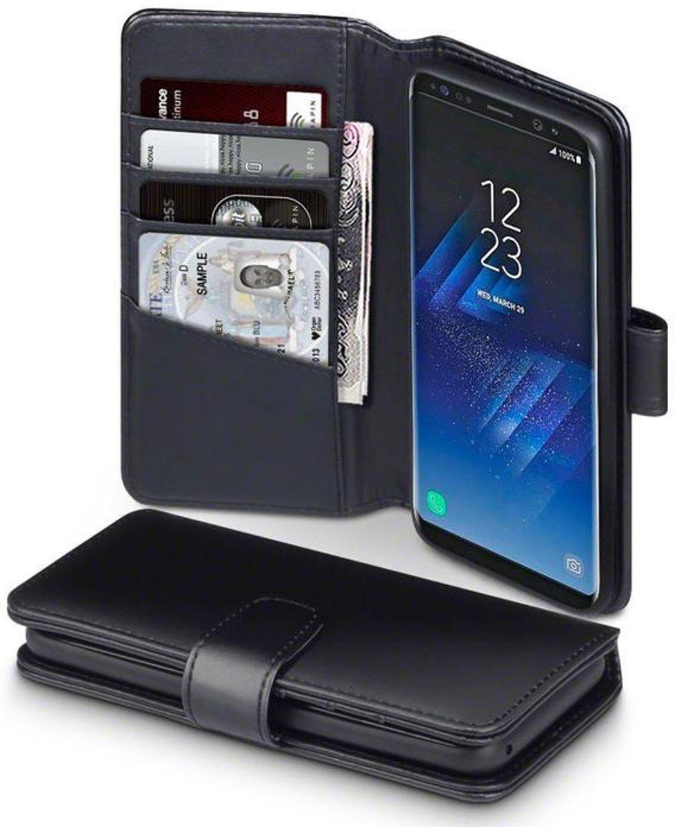 Image of Telefoonhoesje.nl Samsung Galaxy S8, Echt leren portemonnee TPU hoesje, Zwart (8718798189518)