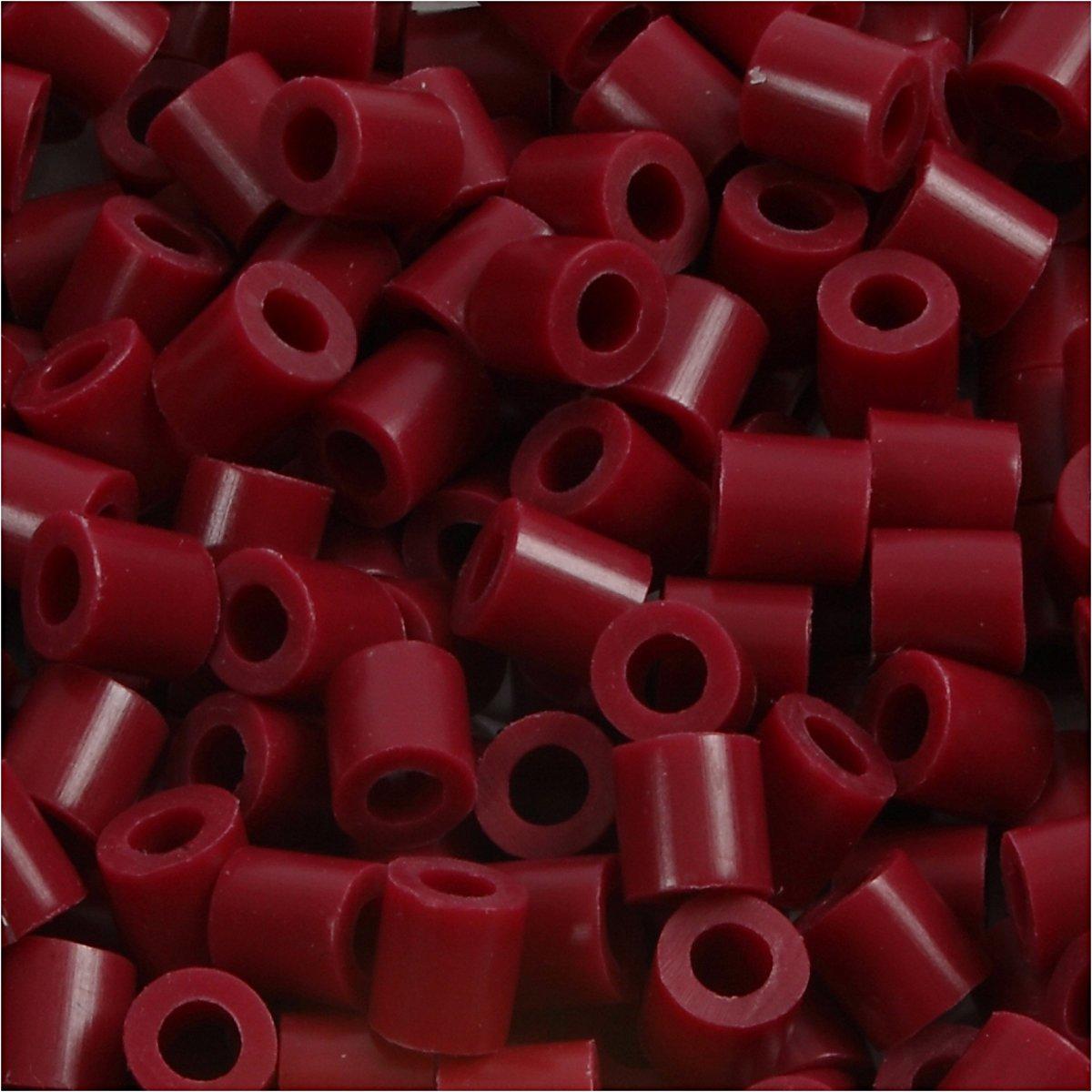 Foto kralen, afm 5x5 mm, gatgrootte 2,5 mm, wijnrood (4), 6000stuks