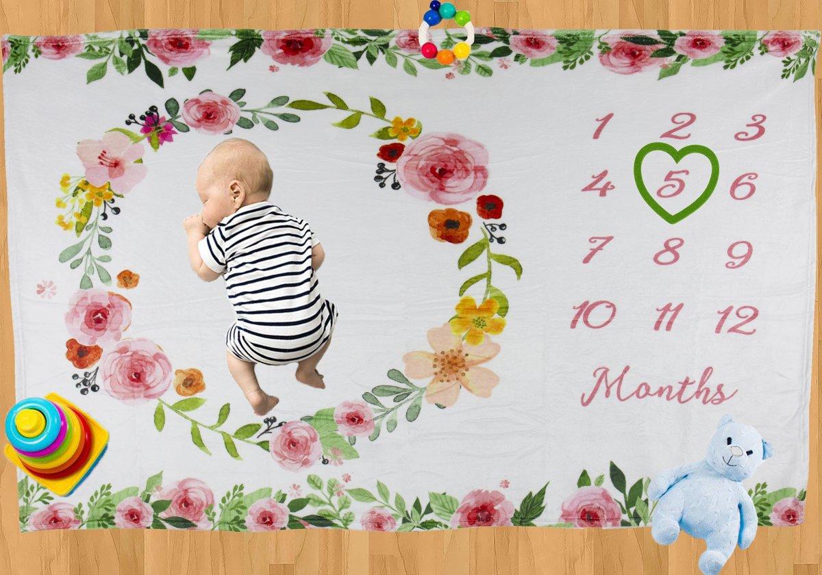 Milestone Blanket Rosa - Babyshower Fleece Deken - Kraamcadeau Pasgeboren Kindje - Giftset Foto Deken - Baby Speel Deken - Otiz Goods