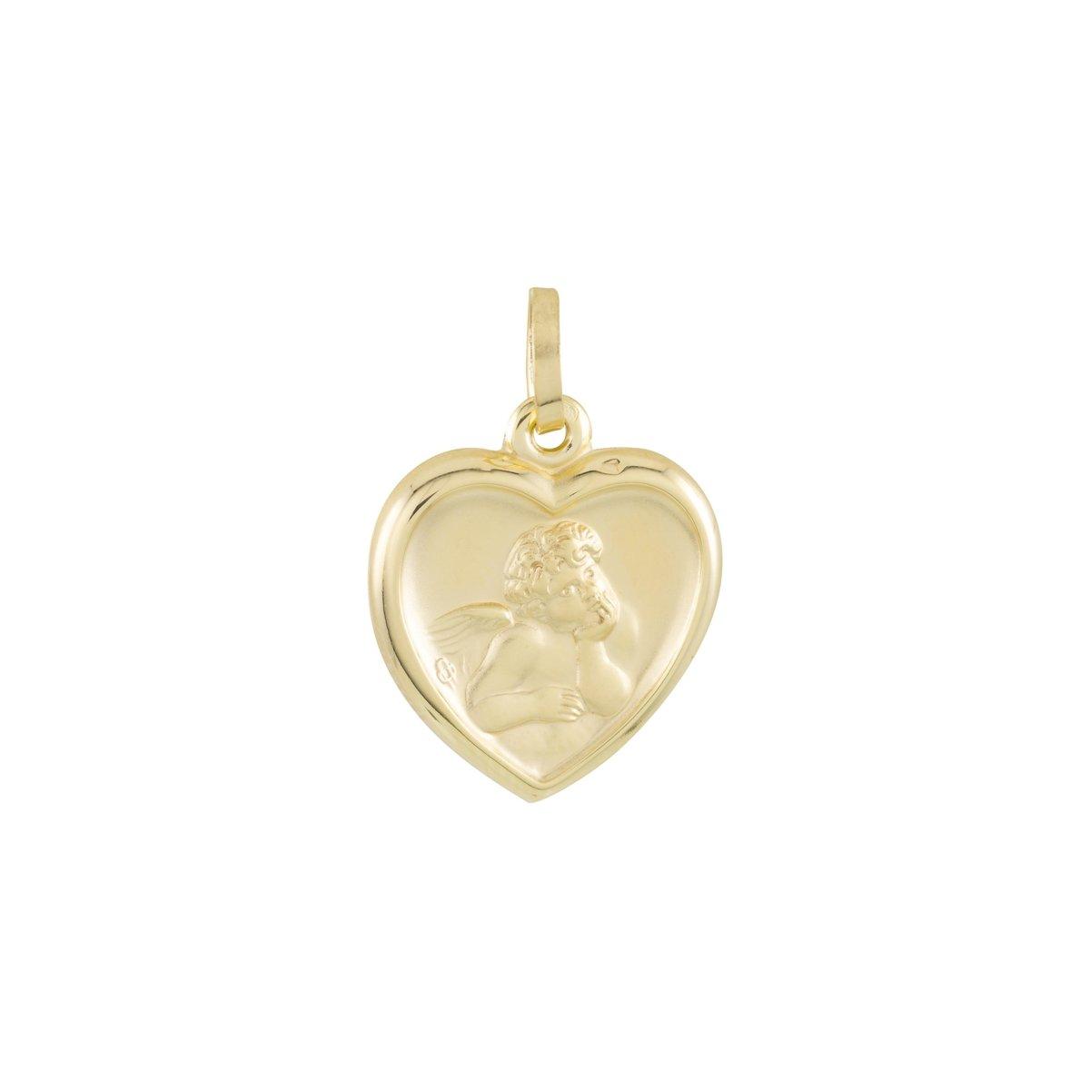 Glow religieuze hanger - geelgoud - cupido - glanzende rand - hart - hol - 16.5 x 14.4 kopen