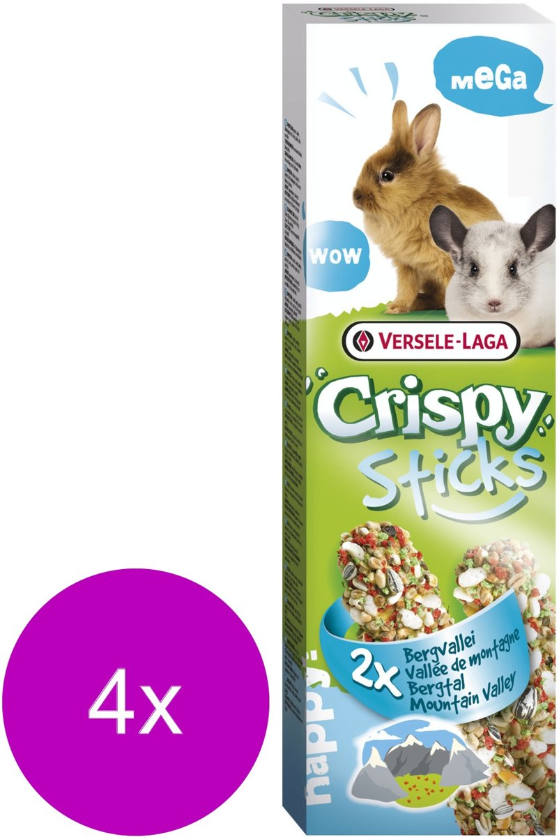 Versele-Laga Crispy Mega Sticks Konijn Bergvallei - Konijnensnack - 4 x Kruiden 2x70 g