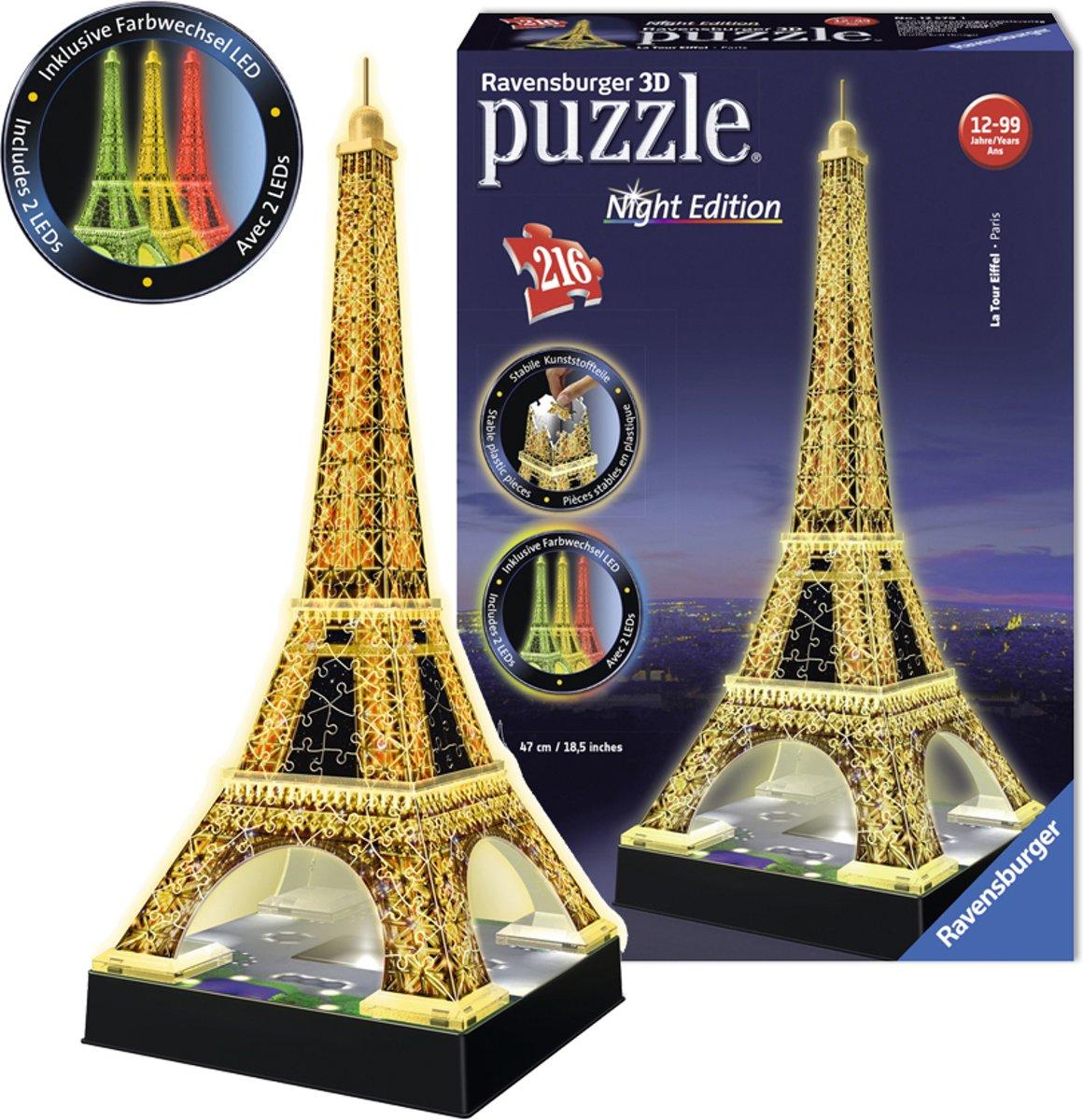 bol.com | Ravensburger Eiffeltoren Night Edition- 3D puzzel gebouw ...