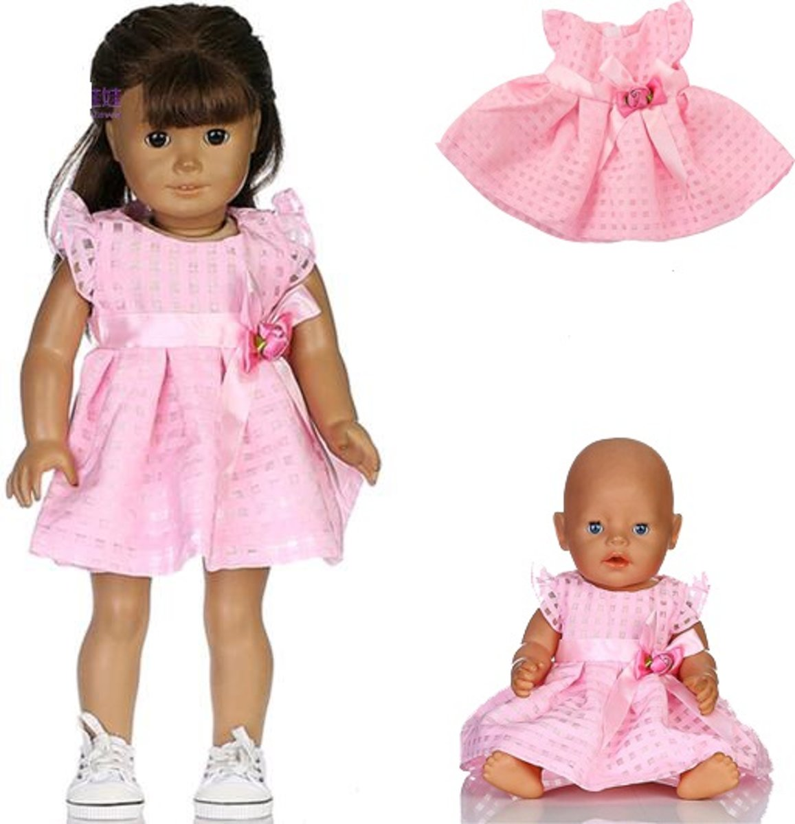 Poppenkleertjes voor poppen zoals Baby born pop (max 43 cm) - Roze jurkje met strik en roosje