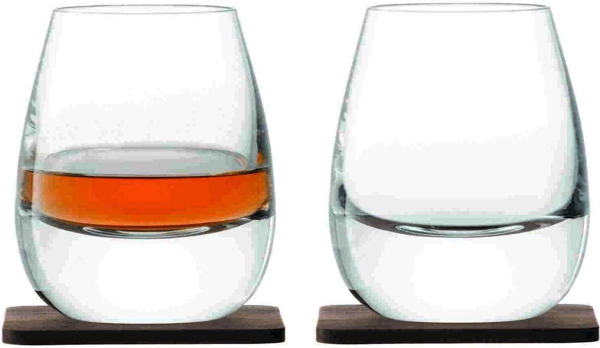 L.S.A. Whisky Islay Whiskyglazen - 250 ml - Incl 2 Walnonten Onderzetters - Set van 2 Stuks kopen