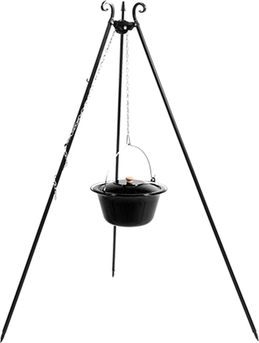 CookKing Tripod met Geëmailleerde Goulash Pot met Haspel 10 liter