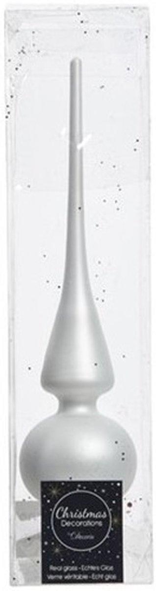 Winter wit glazen piek mat 26 cm - Winter witte kerstboom versieringen kopen