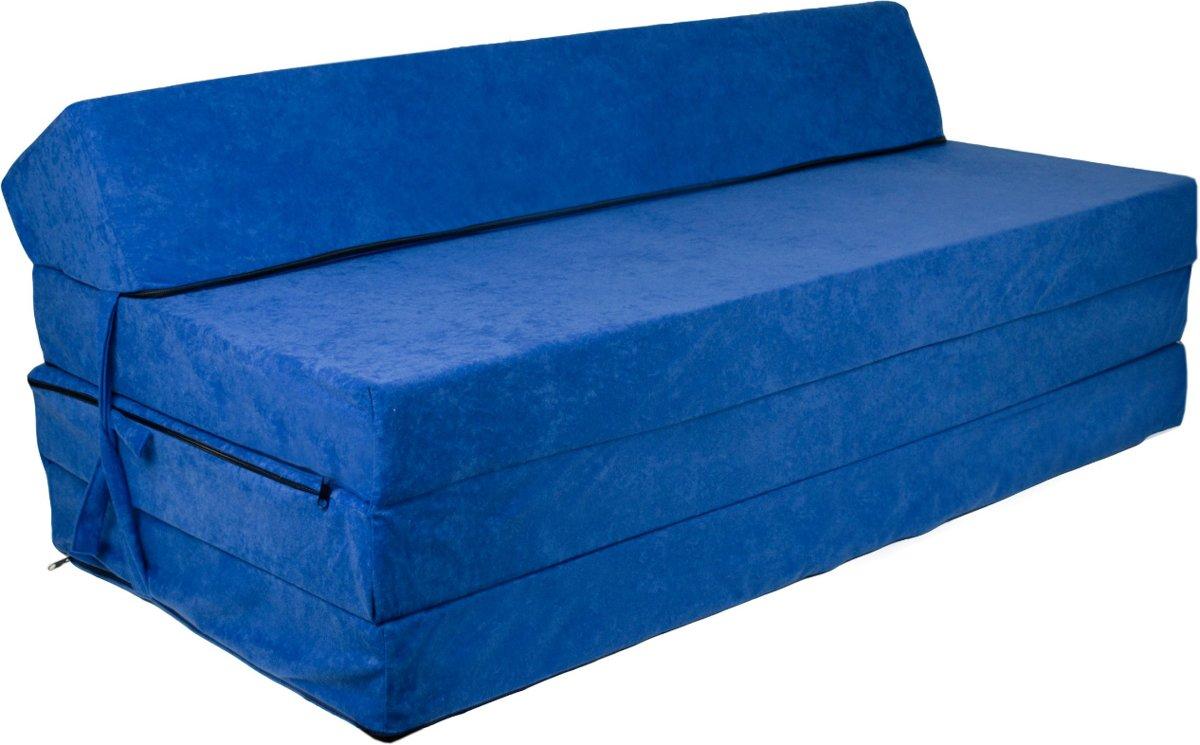 Extra breed logeermatras - donker blauw - camping matras - reismatras - opvouwbaar matras - 200 x 120 x 10 - met hoofdkussen