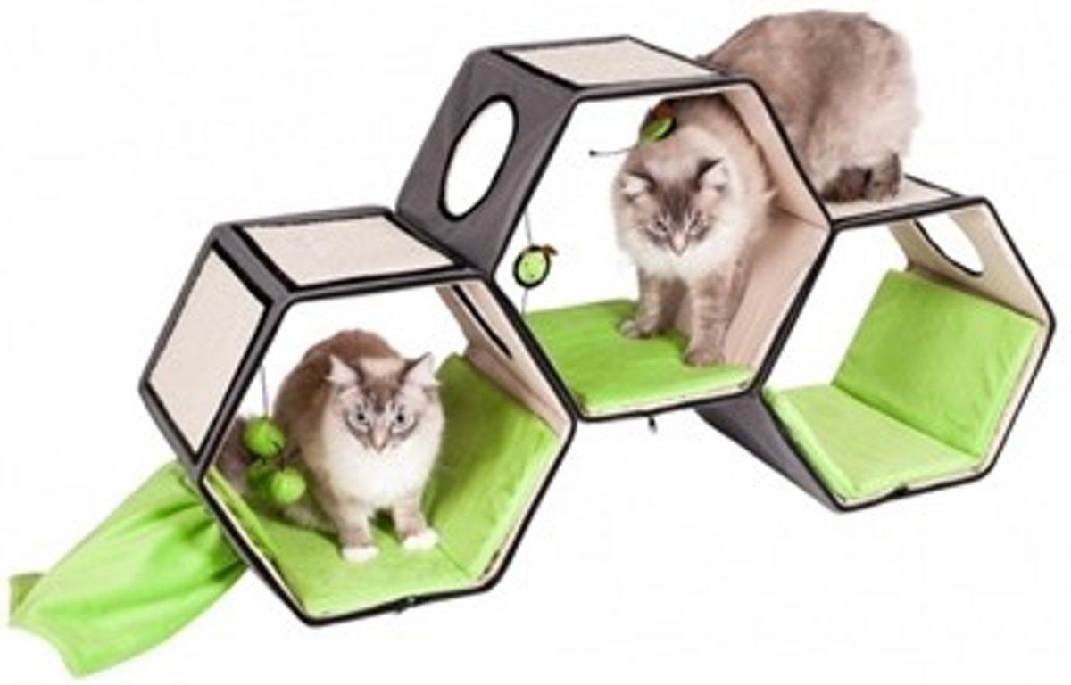 Karlie krabpaal hexagone lounge grijs / groen