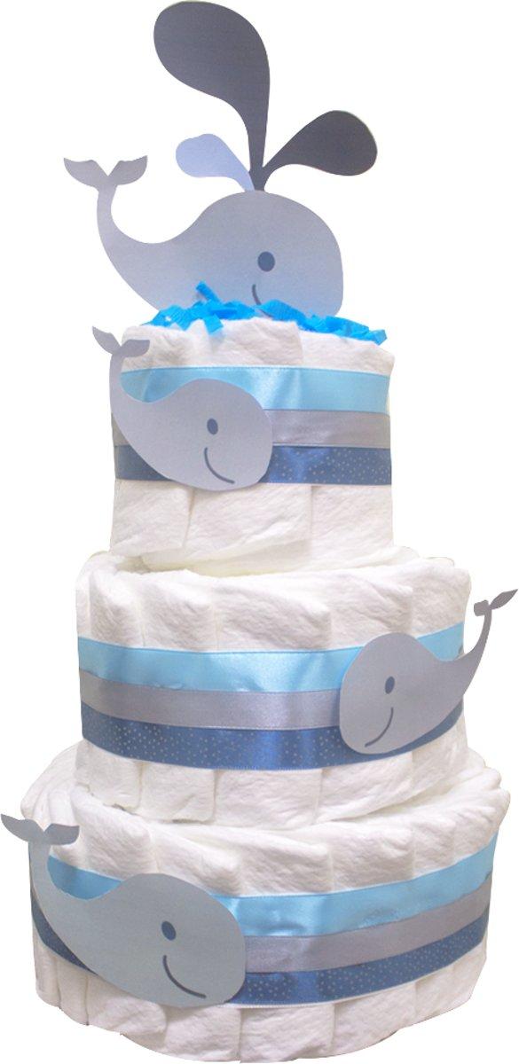 Pampertaart / luiertaart jongens 3 lagen blauw  maat 2 (4-8 kg) Kraamcadeau, Babyshower, Geboortecadeau kopen