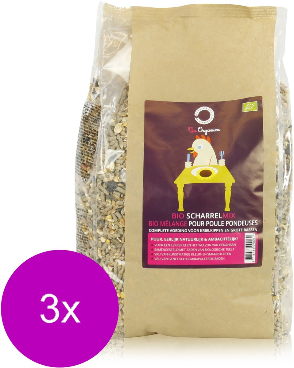 Via Organica Bio Scharrelmix - Kippenvoer - 3 x 4 kg Bio