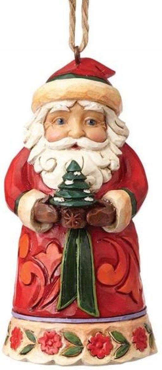 Jim Shore: Mini kerstman holding boom (Hangend ornament) Beelden & Figuren kopen