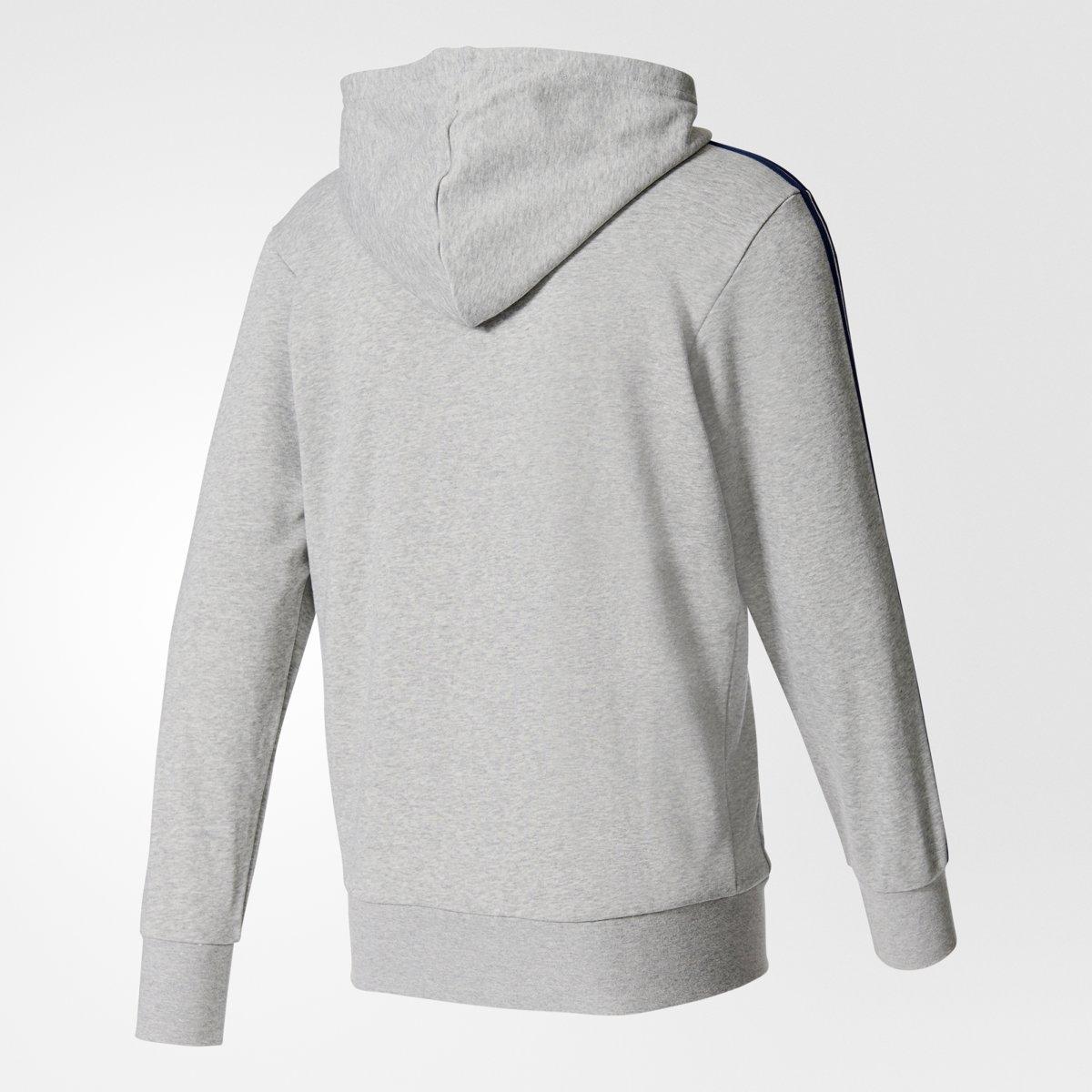 adidas Essentials 3Stripes FZ Ft Sportshirt Heren Medium Grey HeatherCollegiate Navy