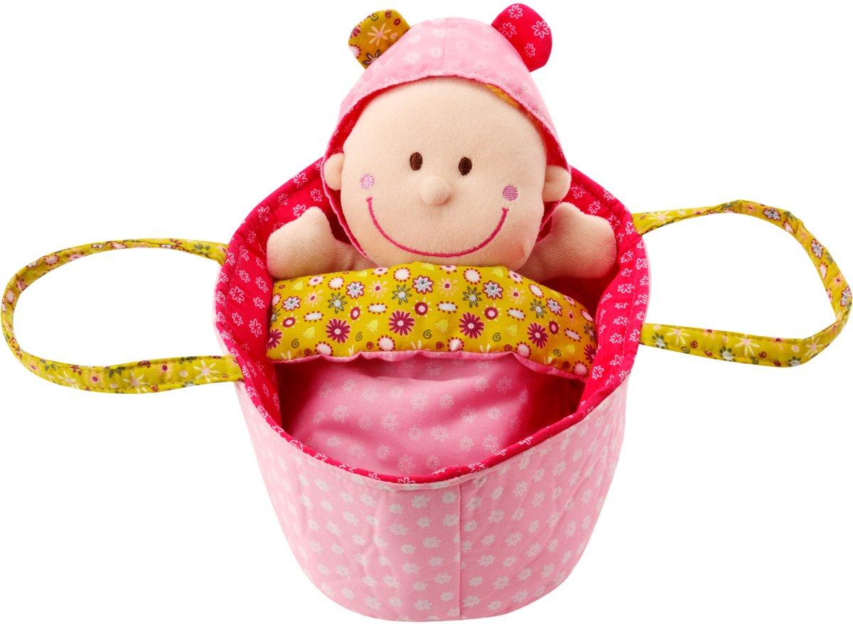 Lilliputiens Eline baby stoffen pop in draagmand popje stof