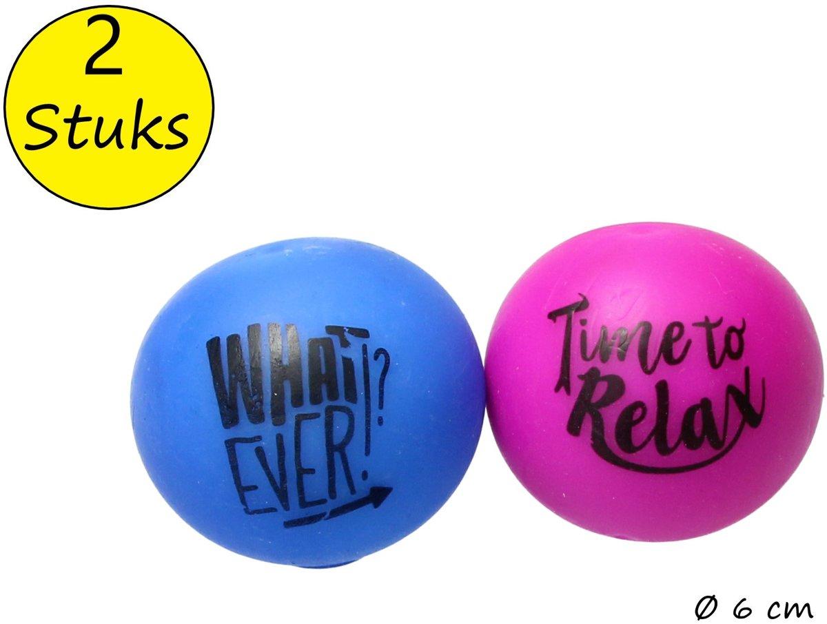 Anti-Stressbal met ontstressende Tekst – 2 Stuks – Squishy Stressbal – Knijp Speelgoed – Paars, Blauw