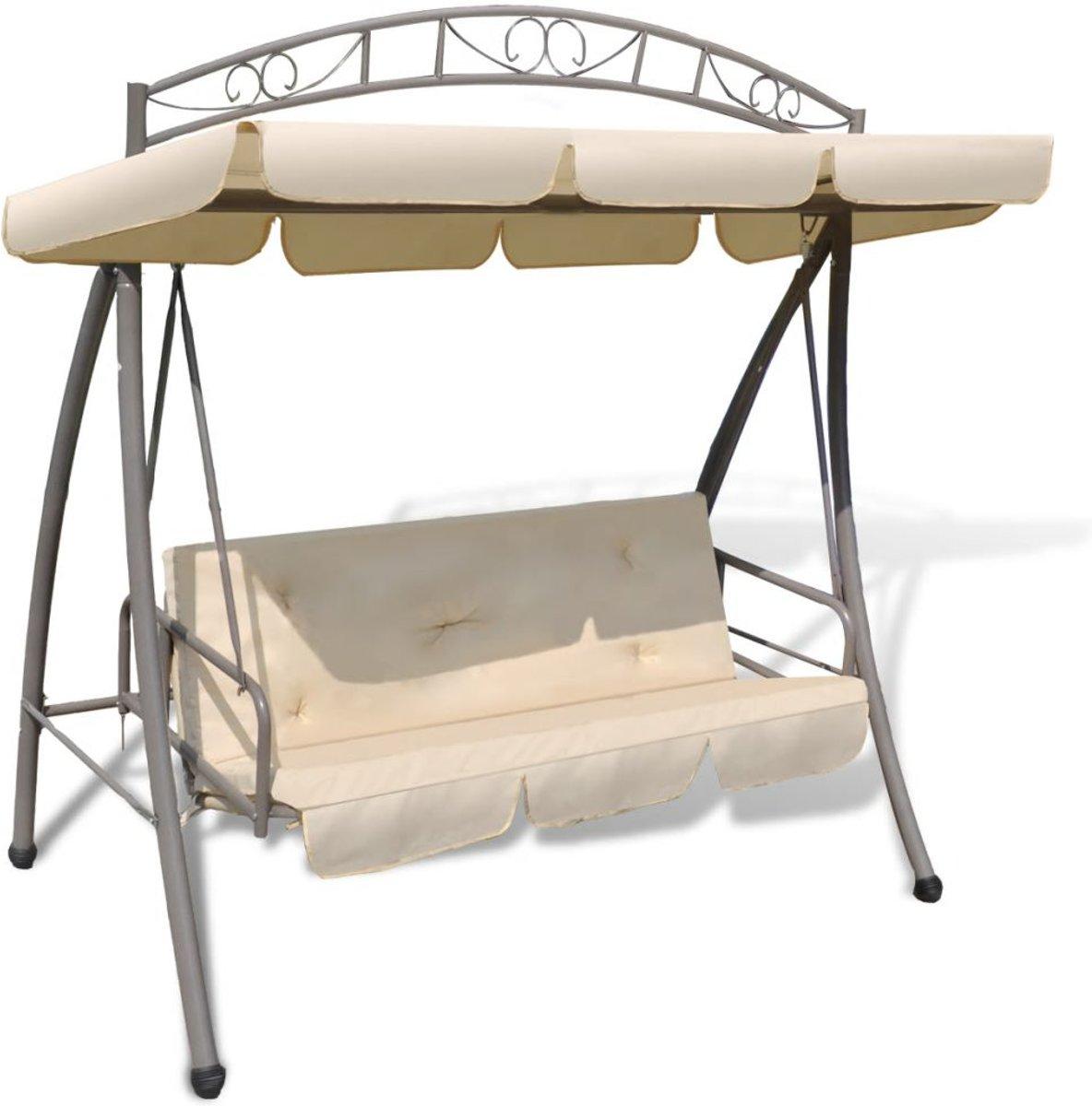 vidaXL Schommelstoel voor buiten met luifel en versiering zandwit kopen