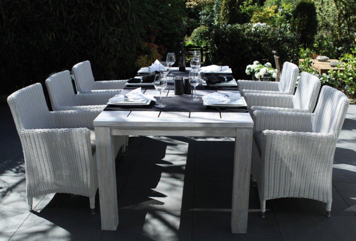 Moodzz - Marbella Dining set - 4 persoons - Wicker - Wit kopen