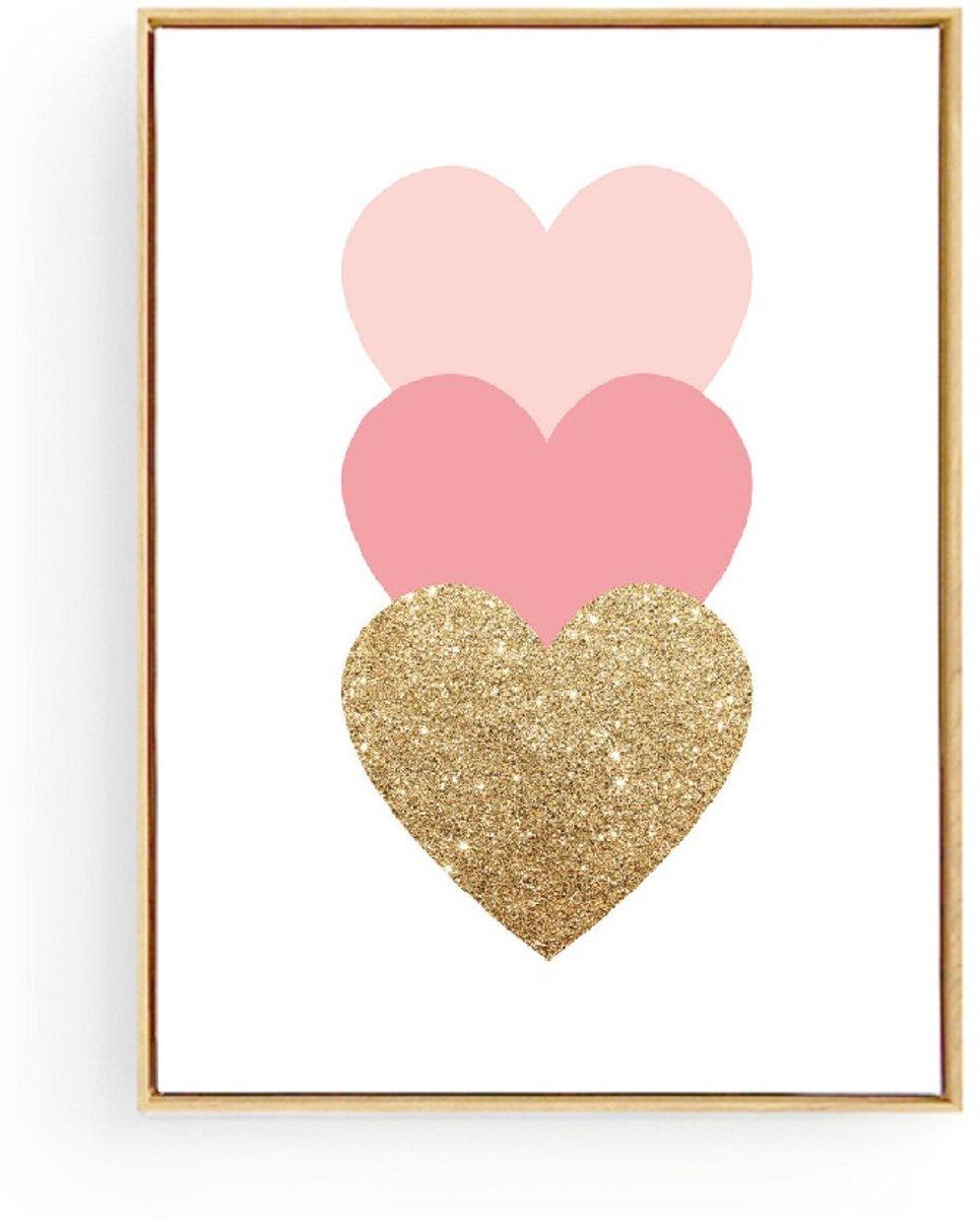 Postercity - Design Canvas Poster 3 Hartjes Goud - Roze / Kinderkamer / Muurdecoratie / 40 x 30cm / A3