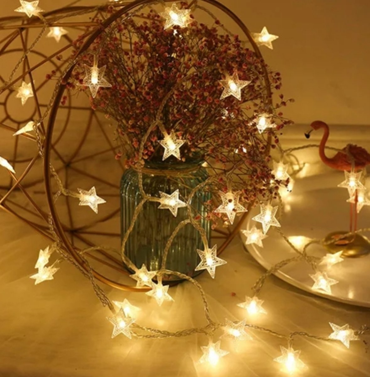 Led lampjes slinger - Sterretjes - 3 meter - 20 lichtjes - Warm white - Kerst - Winter - Lichtsnoer kopen