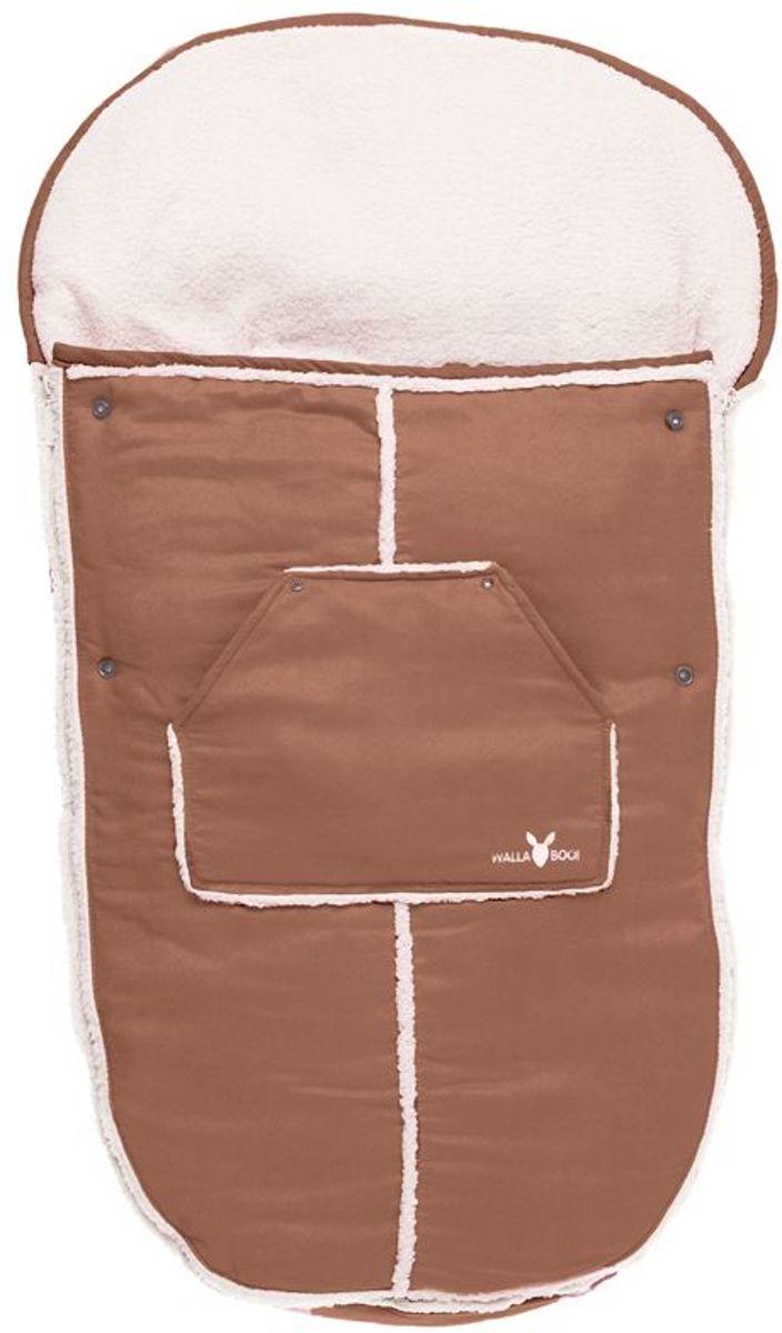 Wallaboo voetenzak - prachtig suède gevoerd met  bont - geschikt voor 6 tot 36 maanden - past in elke kinderwagen - bruin kopen
