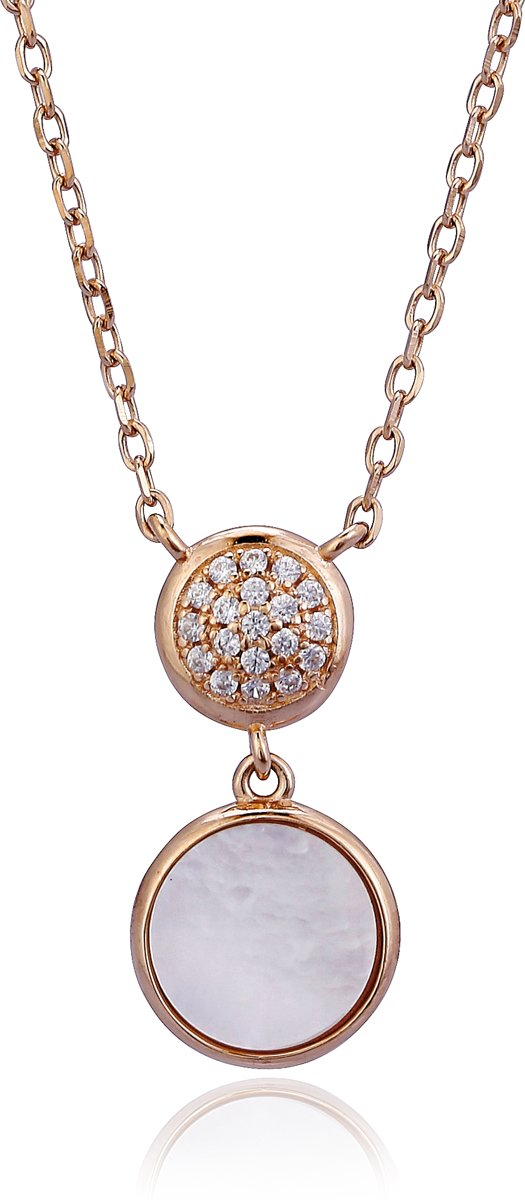 Orphelia ZK-7431 - Ketting Circles - Zilver 925 - Zirkonia / Mother of Pearl - 45 cm