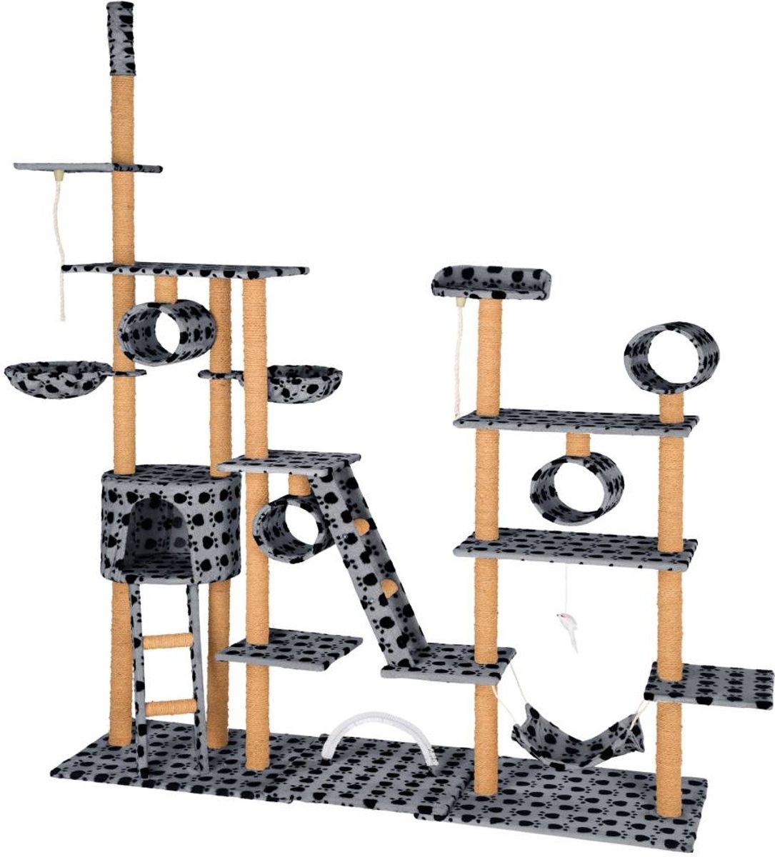 TecTake - XXL Krabpaal silvia zwart grijs -  218 x 70 x 234 cm -402743