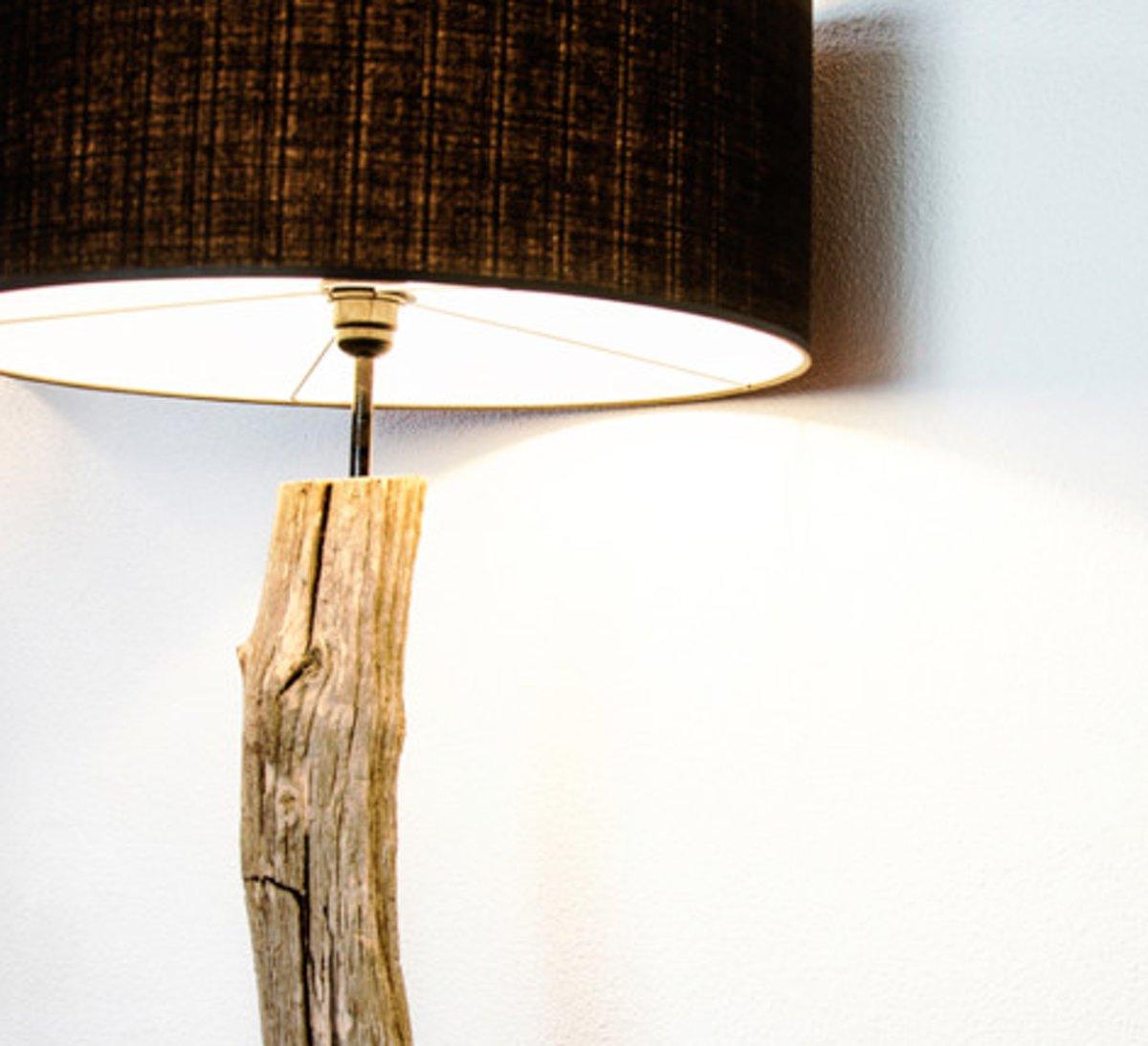 Genoeg bol.com | Houten boomstronk vloerlamp (kap blauw) #JU99