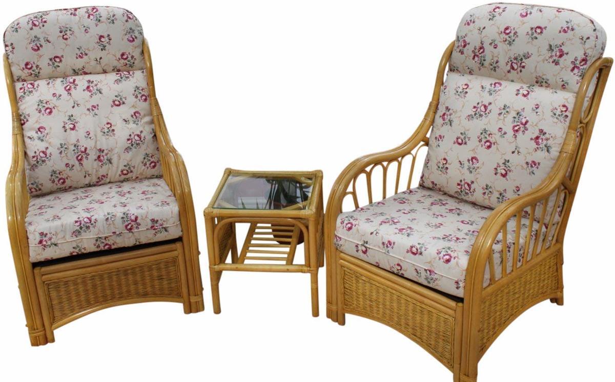 Garden Market Place Sorrento Rieten serre meubels - set van 2 stoelen en een bijzettafel -  Roze - Bloemmotief