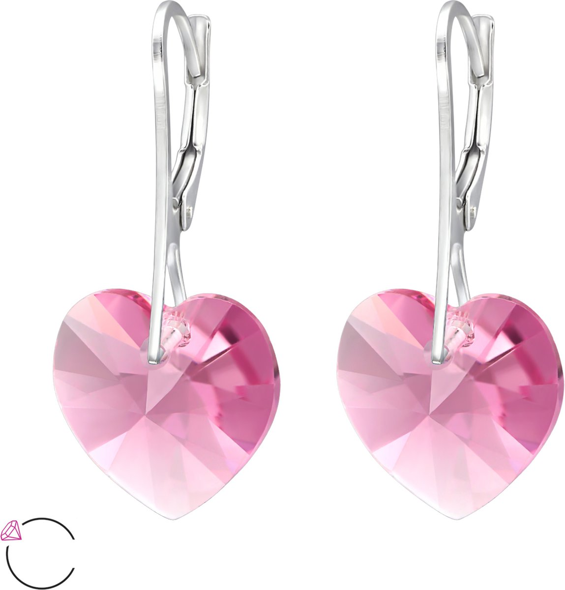 Montebello Oorbellen Edrea Rose - Dames - 925 Zilver - SWAROVSKI ELEMENTS™ - Ø14x30mm kopen