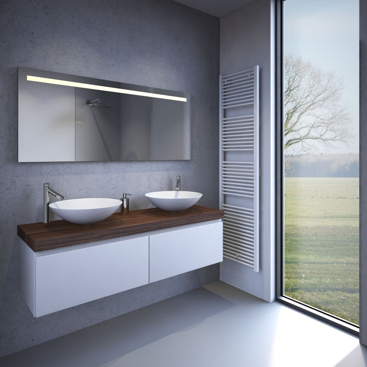 bol.com | 160 cm brede badkamer spiegel met verlichting verwarming ...