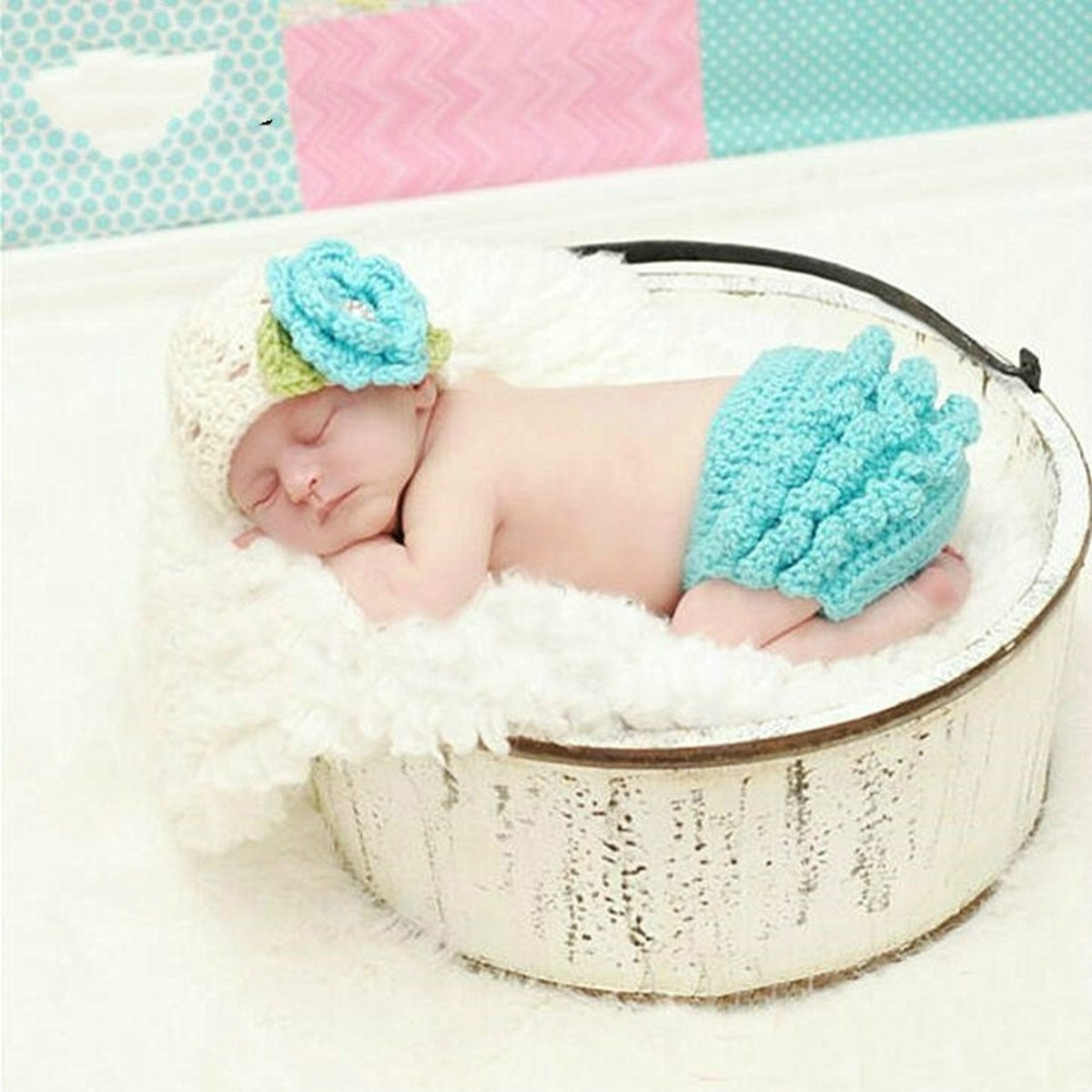 Children Photography Clothing Hand-knitted Cotton Wool Hat with Flower + Ruffled Wool Pants(Blue )