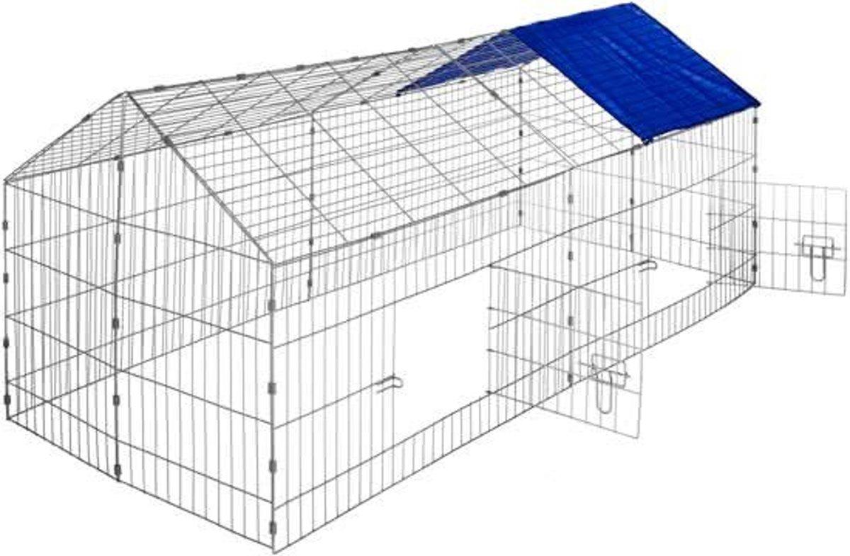 Maxx Konijnenhok - Konijnenren met zonnescherm blauw 180x75cm