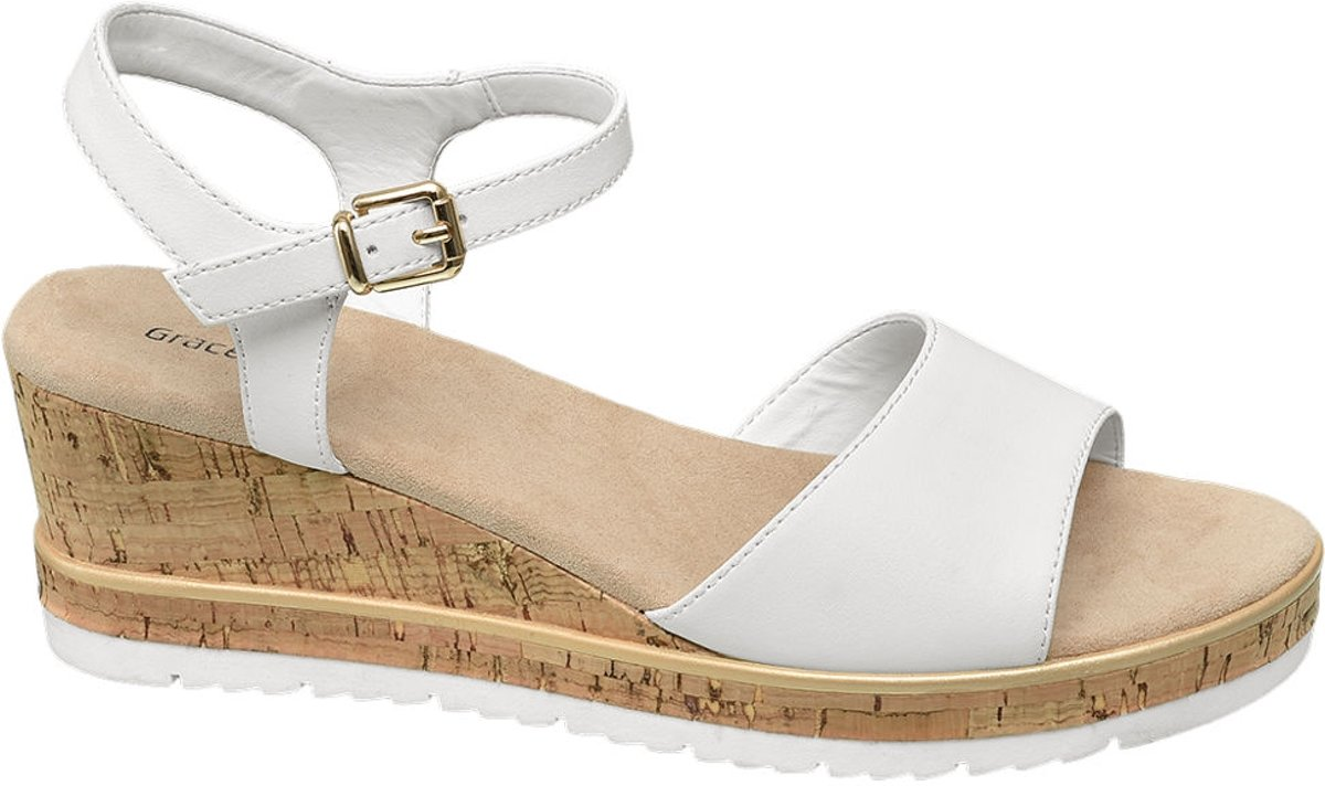| Graceland Dames Witte sandalette sleehak Maat 36