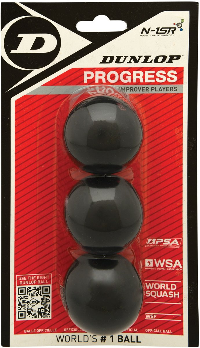 Dunlop  PROGRESS 3BBL - Zwart - Squashballen Unisex - 700104