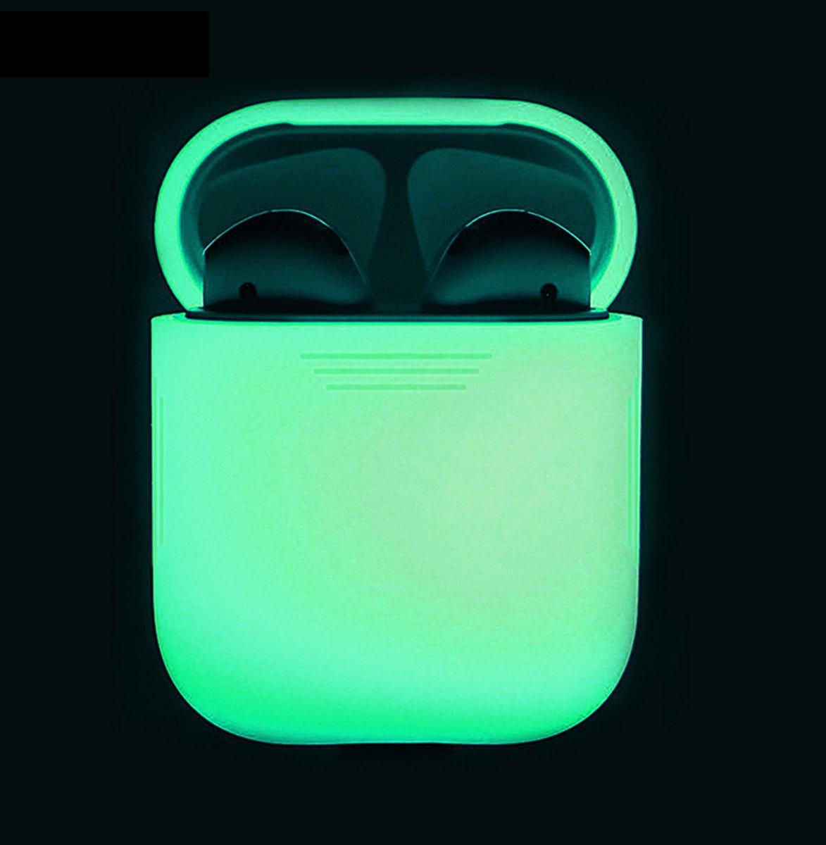 Silicone Case Cover Hoesje voor Apple Airpods - Wit/Glow in the dark kopen