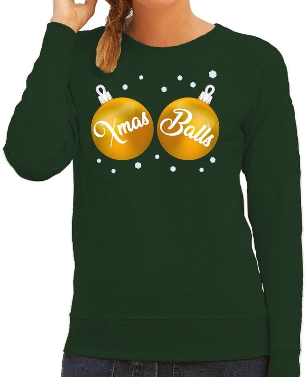 Foute kersttrui / sweater groen met gouden Xmas Balls borsten voor dames - kerstkleding / christmas outfit 2XL (44)